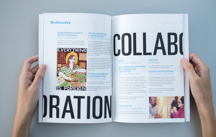 Double page spread in a book for International Literature Showcase.