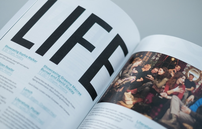 Typographic detail in a book for International Literature Showcase.
