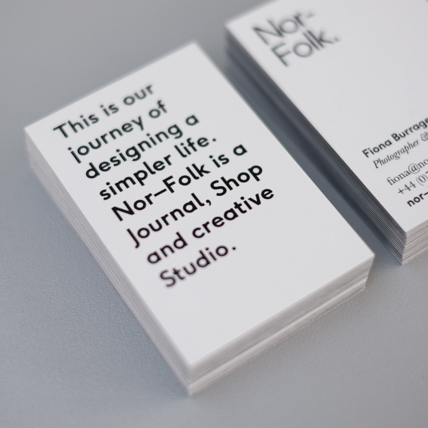 Business card design for Nor–Folk.