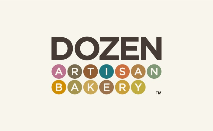A brand identity for a boutique artisan bakery named Dozen.