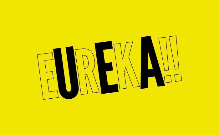 A brand identity for a business plan competition for University of East Anglia (UEA) students named 'EUREKA'.