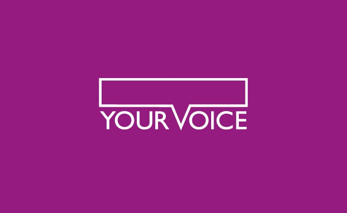 A brand identity for a membership scheme for people interested in sharing their views and experiences to help develop and improve a wide range of services called Your Voice.