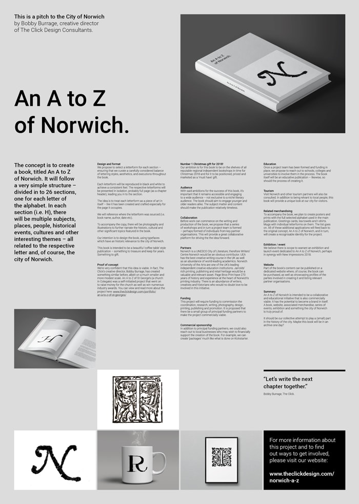 A poster advertising the A to Z Norwich book.
