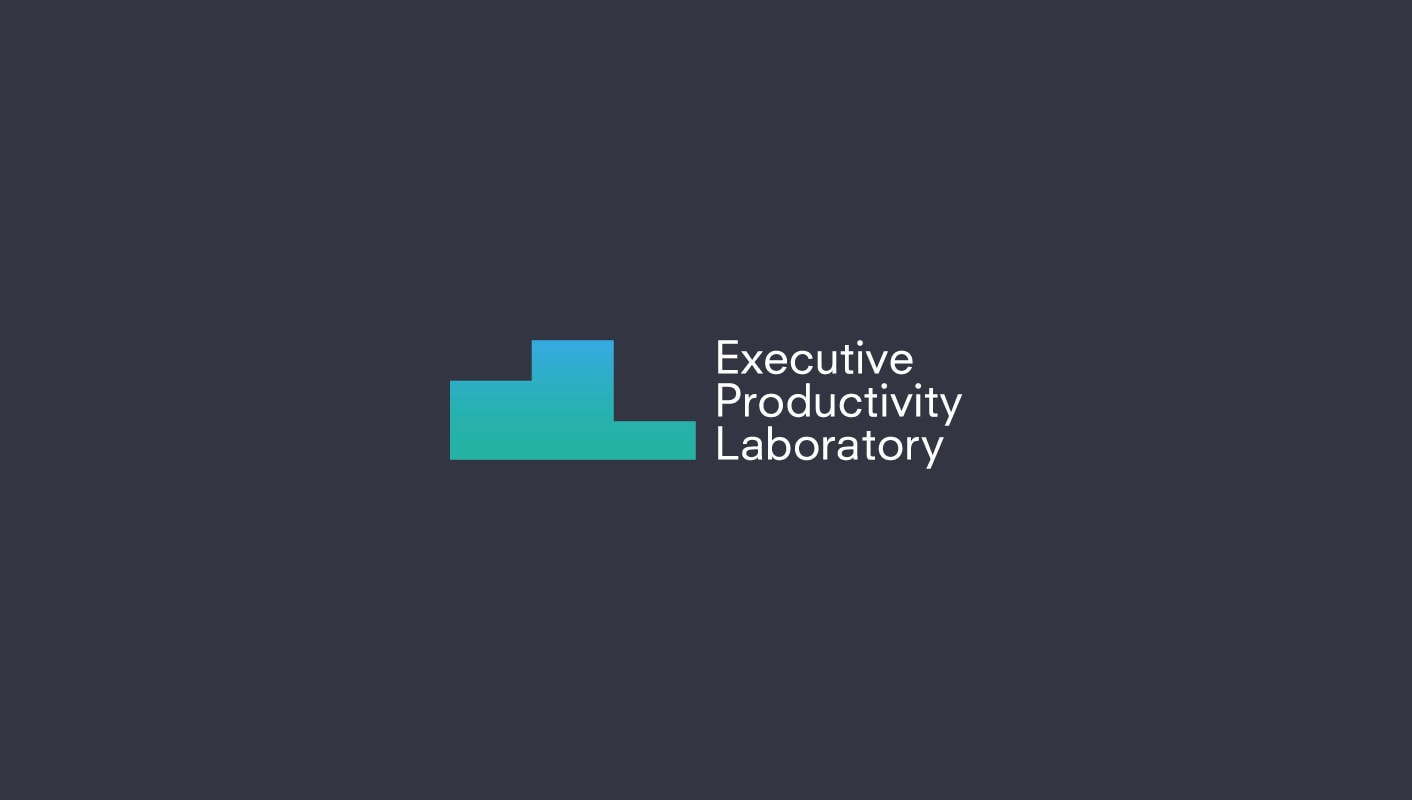 Executive Productivity Laboratory brand logo on dark blue background.
