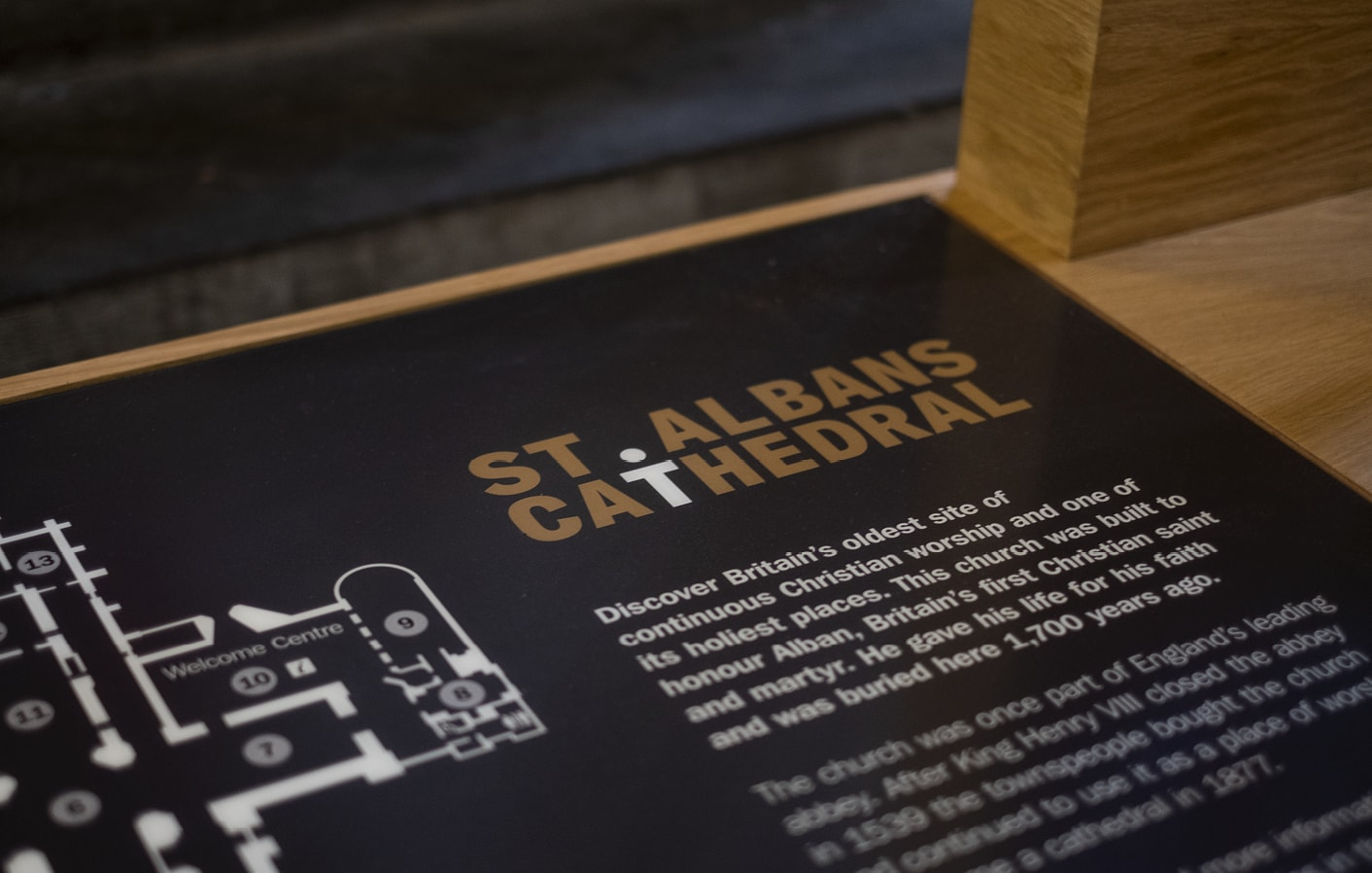 St Albans Cathedral interpretation signage
